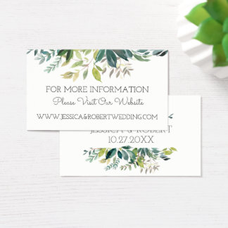 Greenery Bouquet Wedding Website Details Card