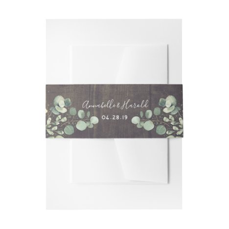 Greenery Branches Rustic Wedding Invitation Belly Band