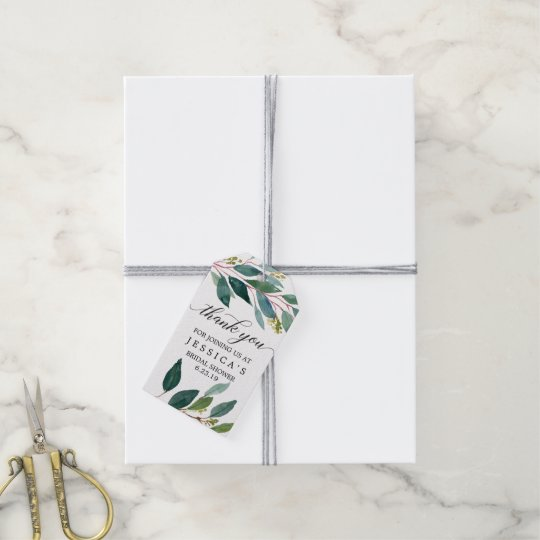 greenery bridal shower favor tags