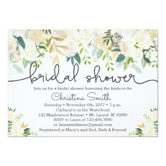 Greenery Bridal Shower Invitation w Ivory Accents