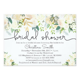Winter bridal shower invitations announcements zazzle greenery bridal shower invitation w ivory accents filmwisefo Choice Image