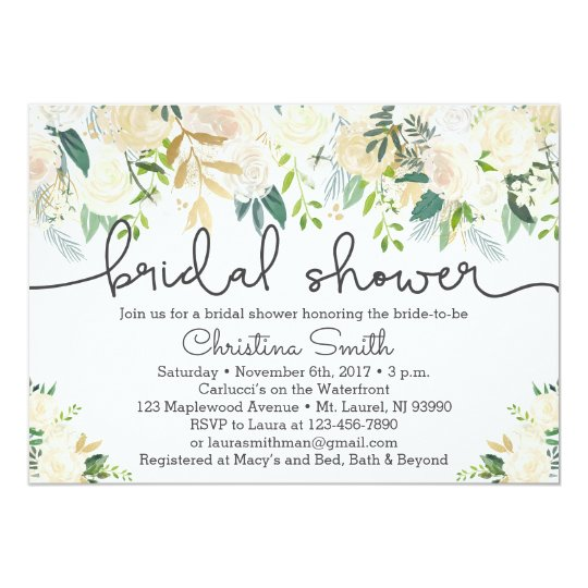 c941650bd44731 Greenery Bridal Shower Invitation w Ivory Accents