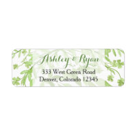 Greenery Clover Floral Wedding Address Label