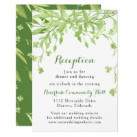 Greenery Clover Floral Wedding Reception Card
