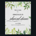 """Greenery Destination Rehearsal dinner Welcome Poster<br><div class=""""desc"""">This greenery destination rehearsal dinner welcome poster is perfect for a summer rehearsal dinner. Green blush hand-drawn leaves,  foliage adorn idyllic geometric frames,  oozing style and class to embellish your occasion cards.</div>"""