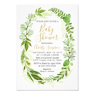 Greenery Elegant Baby Shower Invitation Cards
