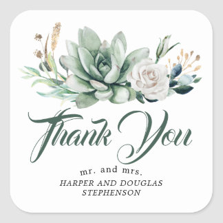 Greenery Elegant Garden Wedding Thank You Square Sticker