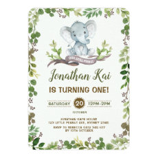 Greenery Elephant 1st Birthday Party Rustic Invitation