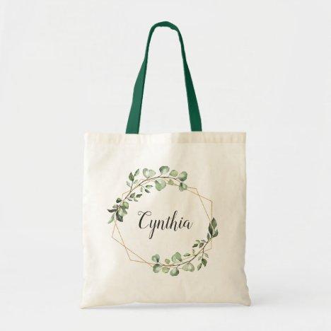 Greenery Eucalyptus Geometric Frame Bridesmaid Tote Bag