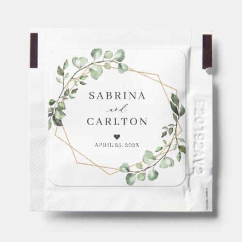 Greenery Eucalyptus Geometric Wedding Reception Hand Sanitizer Packet