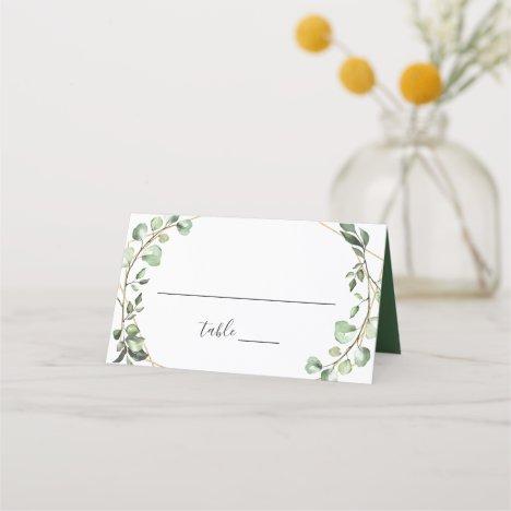 Greenery Eucalyptus Geometric Wedding Table Place Card