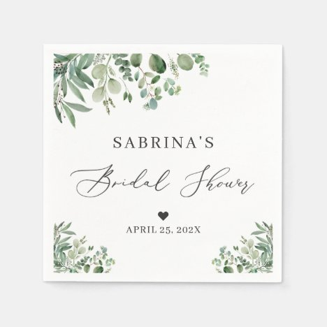 Greenery Eucalyptus Leaves Elegant Bridal Shower Napkins
