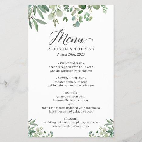 Greenery Eucalyptus Leaves Wedding Dinner Menu
