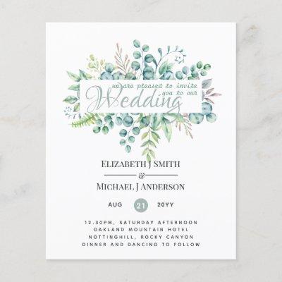 Greenery Eucalyptus Leaves Wedding Invites Budget