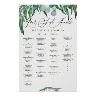 GREENERY EUCALYPTUS SEATING CHART, ALPHABETICAL POSTER