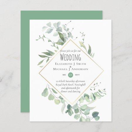 Greenery Eucalyptus Wedding BUDGET Invites