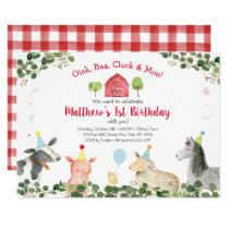 Greenery Farm Animal Barnyard Birthday Invitation