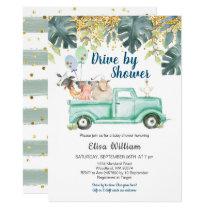 Greenery farm animal boy baby shower invitation