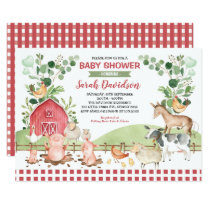 Greenery Farm Animals Barnyard Boy Baby Shower Invitation