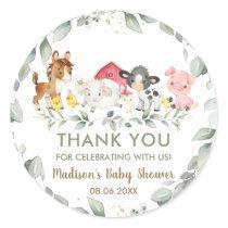 Greenery Farm Animals Birthday Baby Shower Favor  Classic Round Sticker
