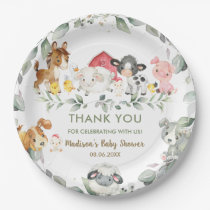 Greenery Farm Animals Birthday Baby Shower  Paper Plate