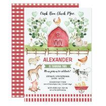 Greenery Farm Barnyard Animals Birthday Bash Invitation