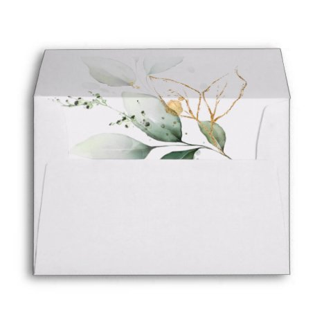 Greenery Floral Gold Foil Leaves Botanical Wedding Envelope