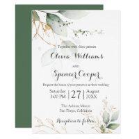 Greenery Floral Gold Foil Leaves Botanical Wedding Invitation