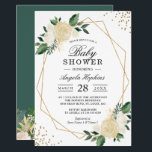 """Greenery Floral Gold Glitters Baby Shower Brunch Invitation<br><div class=""""desc"""">Gold Glitters Greenery Floral Baby Shower Brunch Invitation. (1) For further customization, please click the &quot;customize further&quot; link and use our design tool to modify this template. (2) If you prefer Thicker papers / Matte Finish, you may consider to choose the Matte Paper Type. (3) If you need help or...</div>"""