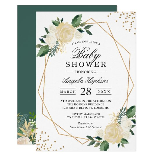 Greenery Floral Gold Glitters Baby Shower Brunch Invitation Zazzle Com