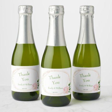 Greenery Floral Mini Champagne Bottle Label