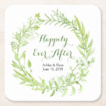 """Greenery Floral Wreath Wedding Square Paper Coaster<br><div class=""""desc"""">Greenery floral wreath personalized wedding paper coasters. These green and white botanical floral wedding paper coasters are a good choice for a summer wedding or a spring wedding. These greenery wedding paper coasters feature a beautiful watercolor greenery wreath with leaves, branches, and other foliage. These abstract watercolor green wedding paper...</div>"""