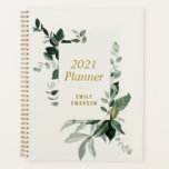 """greenery foliage 2021 planner<br><div class=""""desc"""">A floral design with beautiful watercolor green leaves and foliage. You can edit the colors and text on this planner book.</div>"""