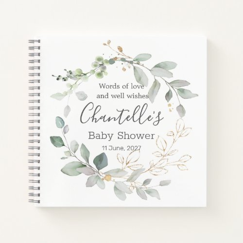 Greenery foliage Baby Shower Guest Book