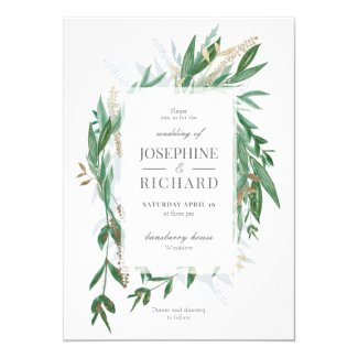 Greenery and Gold Wedding Invitations