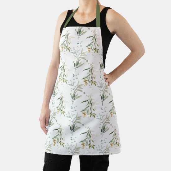Greenery Foliage Leaves All Over Print Apron