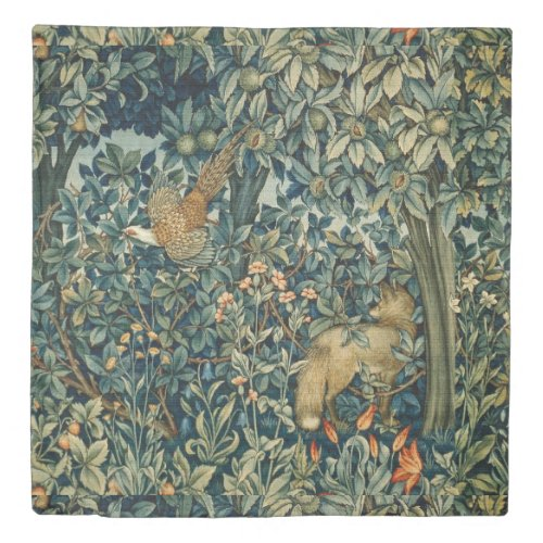 GREENERY,FOREST ANIMALS Pheasant ,Fox,Green Floral Duvet Cover