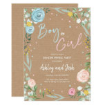 Greenery Gender Reveal Party Blue Pink Roses Invitation