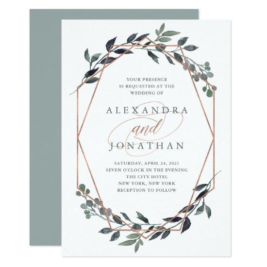 Greenery Geo   Rose Gold Wedding Invitation