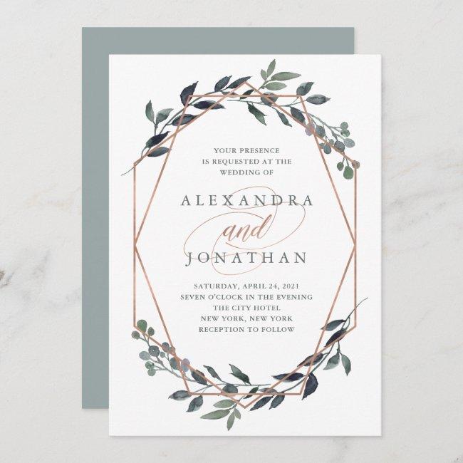 Greenery Geo | Rose Gold Wedding Invitation
