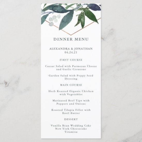 Greenery Geo | Rose Gold Wedding Menu