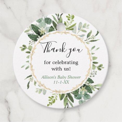 Greenery gold elegant eucalyptus baby shower favor tags