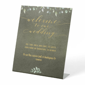 Greenery & Gold Fancy Font Calligraphy Welcome Pedestal Sign