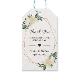 Greenery Gold Frame Floral Wedding Favor Thank You Gift Tags