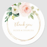 """Greenery & Gold Geometric Elegant Thank You Favor Classic Round Sticker<br><div class=""""desc"""">These greenery & gold geometric elegant thank you favor classic round sticker are perfect for a rustic wedding. The design features lovely white, pink, and blush hand-painted roses and a touch of greenery, adorning gold geometric frames, inspiring artistic beauty. Make the sticker labels your own by including your names, the...</div>"""
