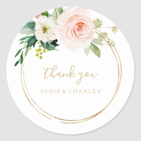Greenery & Gold Geometric Elegant Thank You Favor Classic Round Sticker