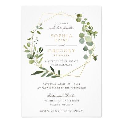 Modern Geometric Frame Nature Green Floral Wedding Invitation
