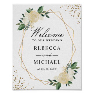 Greenery Gold Glitters Floral Wedding Welcome Sign