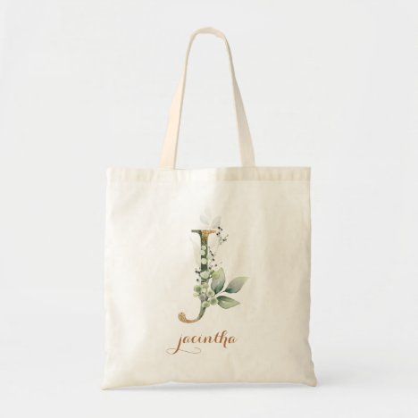 """Greenery Gold Leaf Foliage Personalized Letter """"J"""" Tote Bag"""