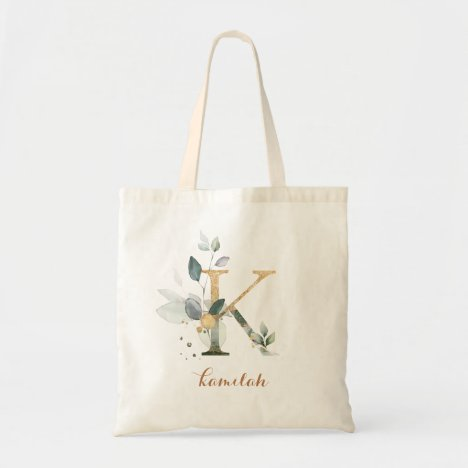 """Greenery Gold Leaf Foliage Personalized Letter """"K"""" Tote Bag"""